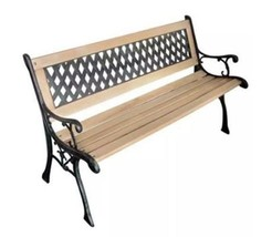 Outdoor Wooden Bench Garden Patio Seater Lounger With Backrest Porch Cha... - €92,62 EUR