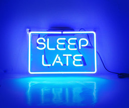 "Handmade 'Sleep Late' Banner Beer Bar Pub Decor Neon Light Sign 13""x8"" - $59.00"