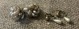 2 Beautiful Pearl Clip On Earrings Dangle Pair are Sarah Coventry - $16.83