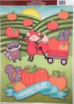 Static Window Clings Thanksgiving Happy Fall Raccoon Fox New - $8.42
