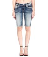 Miss Me Thick Stitch Mid-Rise Medium Wash Bermuda Shorts size 26 - $54.44