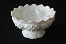 Fenton Milk Glass Hobnail Footed Candle Bowl # 3971 MI - $11.88