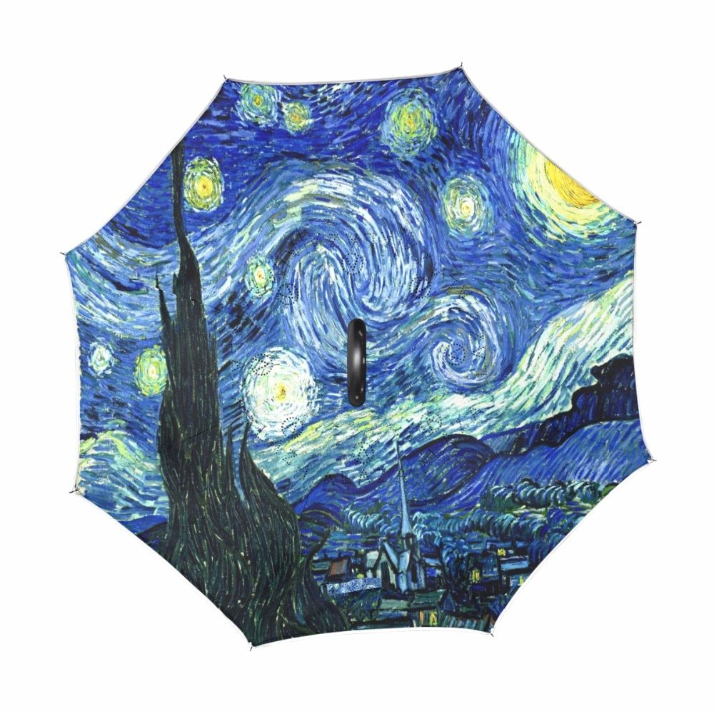 Windproof Creative Painting Starry Night Reverse Umbrella Van Gogh Oil Painting