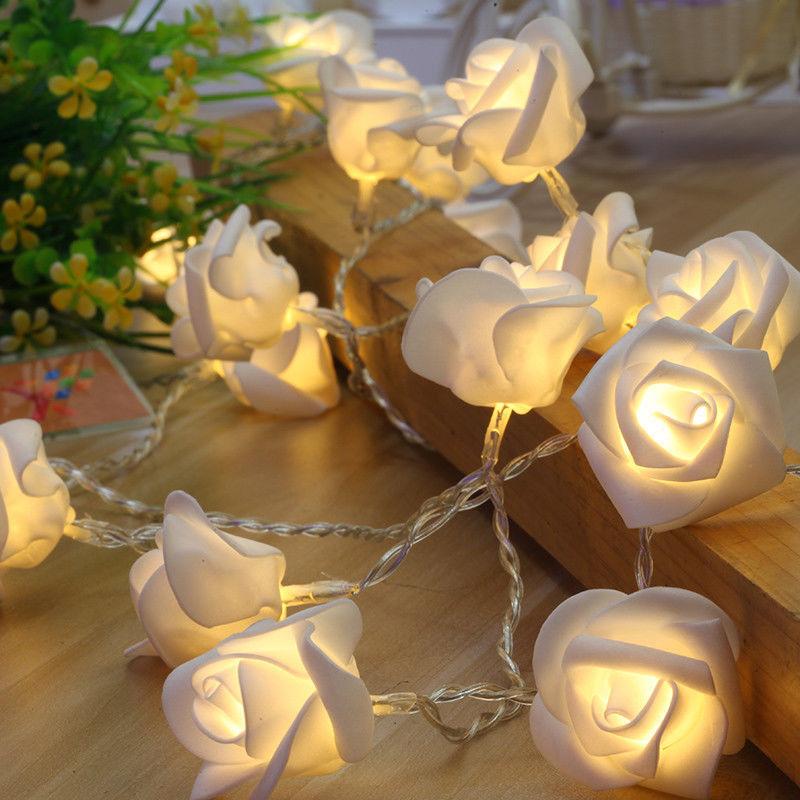 Rose Garland Led Light Wedding Event Party Floral Light Decoration Valentine Day