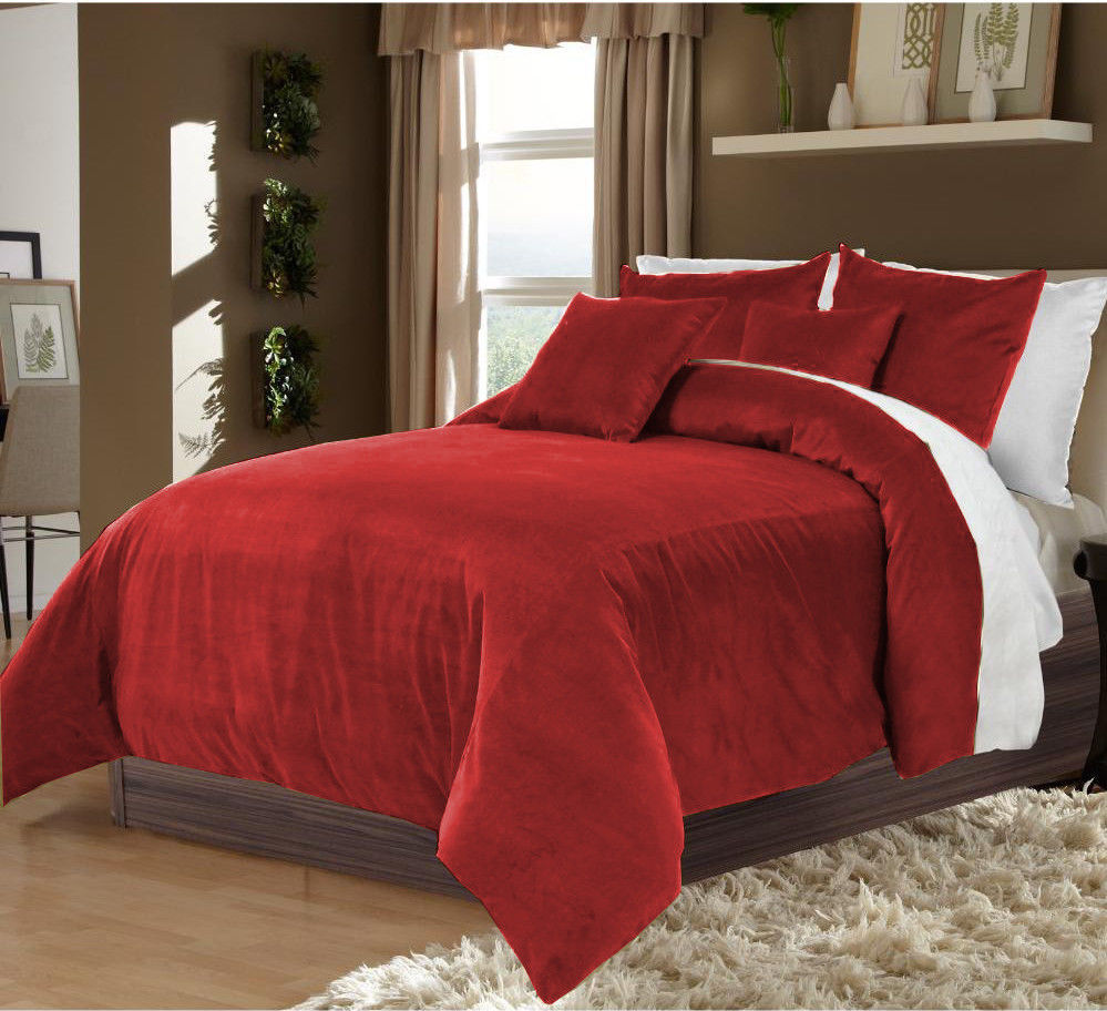 Primary image for New 100% Cotton Velvet Duvet Quilt Cover and Pair Pillow Shams - Burgundy