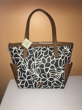 FOSSIL MIMI COATED CANVAS SHOPPER TOTE WITH LEATHER TRIM-Black/White - $79.99