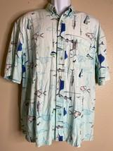Columbia Men Size M Blue Fish Shirt Short Sleeve Angler Viscose Cotton - $16.08