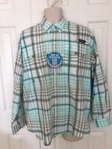 New Columbia Men's Pfg Super Bahama Long Sleeve Shirt, Blue Plaid 005 - $38.90