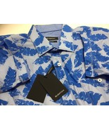 BUGATCHI SHAPED FIT SHORT SLEEVE BLUE BANANA LEAVES PRINTED COTTON SHIRT... - $59.39