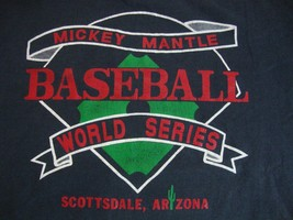 Vintage Mickey Mantle World Series Baseball Black Athletic Adult T Shirt L - $17.81