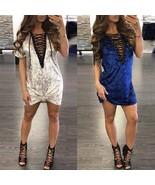 Ladies Women's Short Sleeve Deep V Plunge Corduroy Short Mini Shirt Dress - $29.58