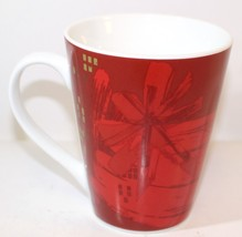 STARBUCKS 2014 Christmas Coffee Mug Cup Red White Gold 12 oz Collectible - $9.00