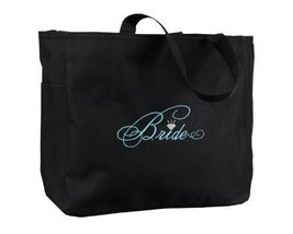 Hortense B. Hewitt Wedding Accessories Black with Aqua Bridal Party Tote... - $18.92