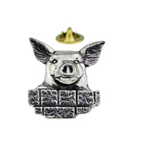 english pewter Pig English Pewter Design pin badge, lapel badge in gift box