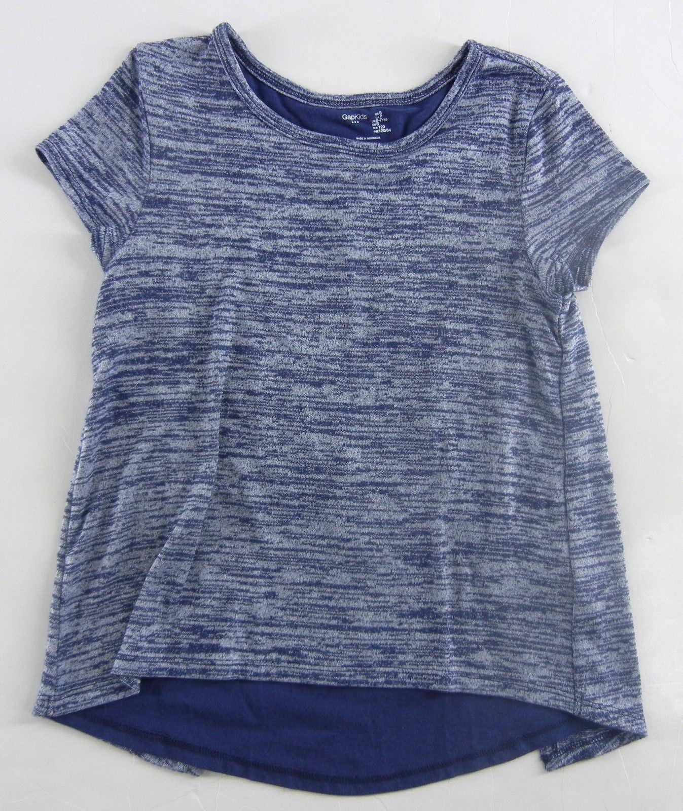 d37e7be5e5fb3b GAP KIDS Girl's Nurian Envelope Dutch Blue Knit Shirt Top S 6 7 yrs Split  Back