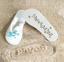 NEW Bride Just Married sz 9/10 White Message in Sand Flip Flops Wedding ... - $14.50