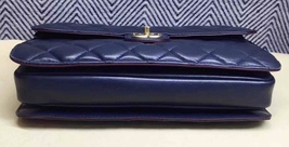 AUTHENTIC CHANEL RARE NAVY BLUE QUILTED LAMBSKIN LARGE PERFECT EDGE BAG GOLD HW  image 5