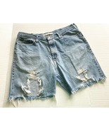 Mens Distressed Jean Shorts Lee 38 Trashed Ripped Torn Thrashed Blue - $9.89