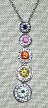 VTG Sterling Silver .925 Rainbow Sapphire Clear Rhinestone Pendant Necklace - $99.00