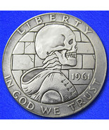 Dressed skeleton hobo nickel on morgan dollar coin obverse thumbtall