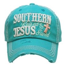 """SOUTHERN RAISED & JESUS SAVED "" Embroidered, Vintage Style Ball Cap image 3"
