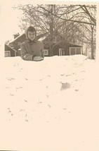 Antique Vintage Photograph Little Boy Looking Over Wall of Snow - $6.93