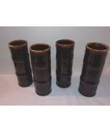 4 Tiki Party Tumblers Vtg Libbey Bamboo Black or Dark Brown Bar Ware Gla... - $53.41