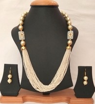 New Indian Gold Plated White Beads Kundan Fashion Necklace Earrings Jewelry Set2 - $13.10