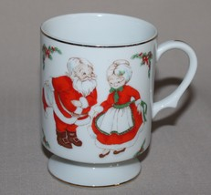 Lefton Santa Bowing to Mrs Claus Footed Mug Christmas Pedestal Coffee Cu... - $9.11