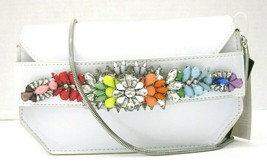 Steve Madden White Pauline Crossbody Clutch Jeweled Rhinestone Flap New SC - $20.97 CAD