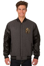 Las Vegas Golden Knights Wool & Leather Reversible Jacket with Front Logos - $219.99