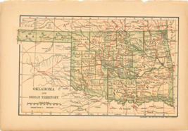 "Original 1903 Antique Map Population Table Oklahoma Dodd Mead & Co 10""X6"" - $26.48"