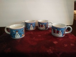 Set of 4 Debbie Mumm Snowman Mug Sakura 1997 Christmas Holiday Winter - $18.69