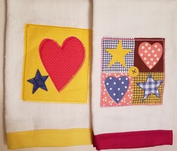 Kitchen Hand Towels set of 2 Velour Applique Patchwork Hearts Stars Red ... - $9.99