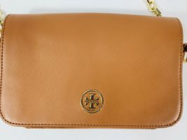 Tory Burch Robinson Chain Strap Tiger's Eye Brown Leather Crossbody Bag image 10