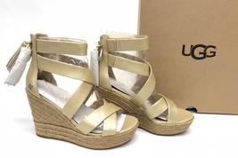 Ugg Australia Raquel Metallic Platform Espadrille Sandals Soft Gold 1092254 - $99.99