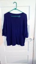 Womens Large Faded Glory blue long sleeve top ras1365 - $10.84