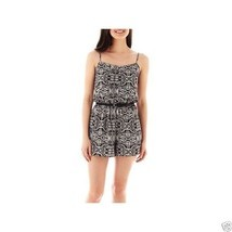 As U Wish Sleeveless Belted Print Romper Junior Size L Msrp $44.00 New - $12.99