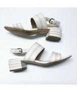 VIA SPIGA Gem Slingback Sandals Sz 7.5 Ivory Leather Ankle Strap - $42.06