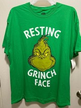 Dr. Seuss Resting Grinch Face Holiday Xmas Men's Graphic T-shirt Size X-... - £7.15 GBP