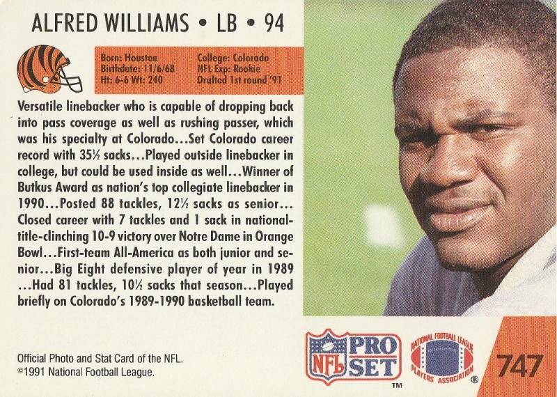 1991 Pro Set #747 Alfred Williams