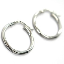 18K WHITE GOLD CIRCLE HOOPS TWISTED EARRINGS 20 MM, SMOOTH, 2 MM THICK, ITALY image 2