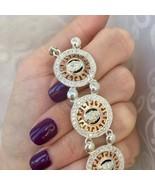 Sterling Silver 925&Gold375 Bracelet With Zircon Classic Versace Style Bracelet, - $160.00