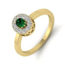 Halo Diamond Engagement Ring Womens Promise Ring Green Emerald Anniversa... - $419.99