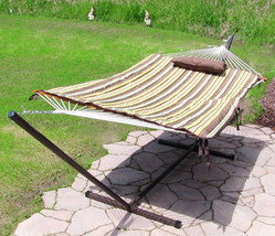Sunnydaze Desert Stripe Rope Hammock and Stand Combo with Pad and Pillow - $172.85+