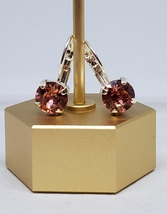 8mm Shiny Silver Lever back Earrings w/Swarovski Crystals - Rose Peach - $20.00