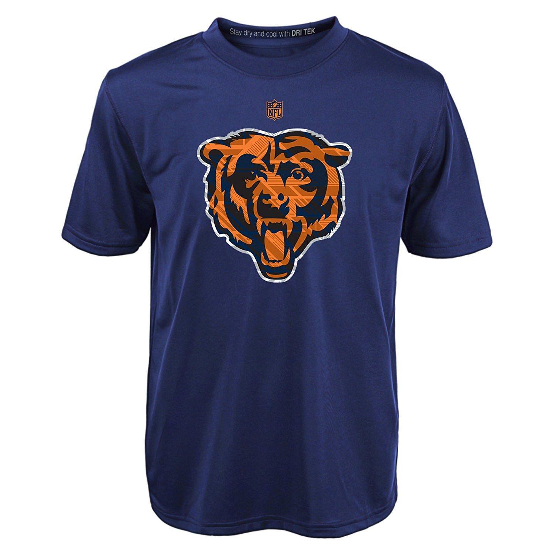 Chicago Bears Boy's 8-18 Shirt NFL Power Grid Logo Short Sleeve Dri Tek Tee