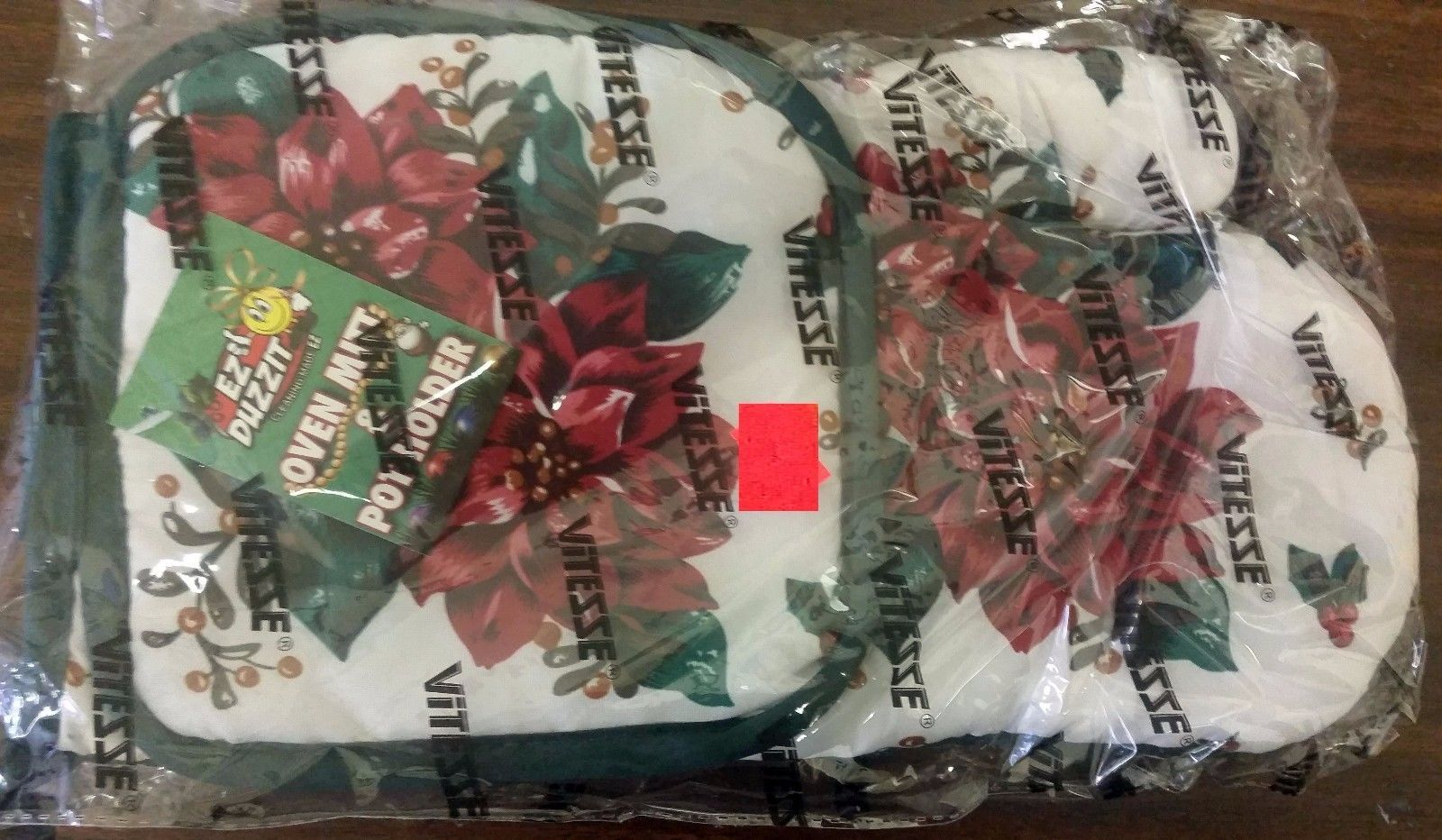 2 pc PRINTED KITCHEN SET: 1 Pot Holder & 1 Oven Mitt, FLOWERS by PRIDE