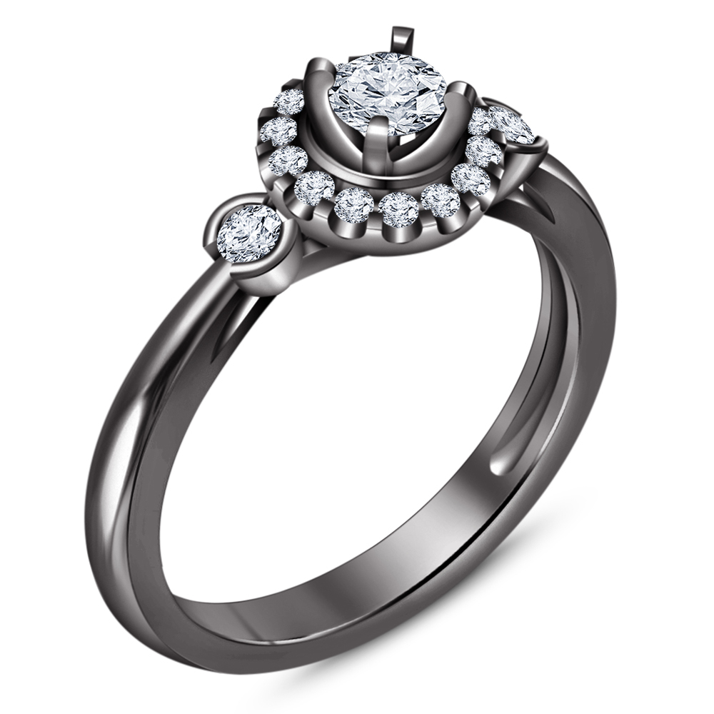 Solitaire With Accents Ring Round Cut Diamond Black Gold Plated Pure 925 Silver