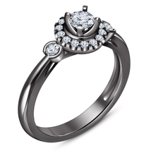 Solitaire With Accents Ring Round Cut Diamond Black Gold Plated Pure 925... - $72.99
